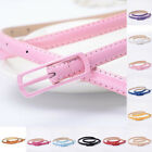 Women Lady Colorful Thin Skinny Waist Belt Patent Leather Narrow Waistband Eager