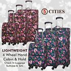 5Cities Lightweight 4 Wheel Hand Cabin & Hold Check In Luggage Suitcase & Sets
