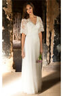 Boho Country Bridal Gown Wedding Dresses Short Sleeves V Neck A Line Lace Tulle