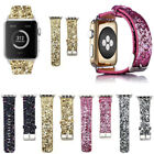 40mm 44mm iWatch Leather Glitter Wrist Strap Bling Band For Apple Watch Series 4 image