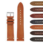 StrapsCo Hand-Stitched Vintage Washed Leather Watch Band - Quick Release Strap image