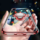 For i Phone Xs Max XR X 8 Plus Magnetic Ring Holder Plating Soft TPU Clear Case