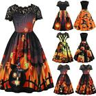Uk Womens Vampire Horror Blood Halloween Costume Ladies Smock Flared Swing Dress