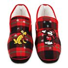Disney Store Mickey Mouse Pluto Holiday Adult Slippers Red Christmas Plaid NEW