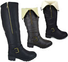 Kyпить Ladies Womens Knee High Fur Lined Flat Low Heel Biker Riding Boots Shoes Size на еВаy.соm