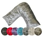 V Shape Crushed Velvet Neck Support Soft Pillow Case Cushion Covers - MADE IN UK