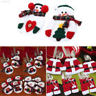 17E7 2X Christmas Santa Snowman Tableware Kinfe Silverware Holders Suit Decorati