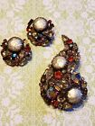 Vintage Wiess Stunning! Brooch And Earrings AB Rhinestones Baroque Faux Pearls