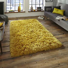 HANDMADE SUPER SOFT 8.5cm PILE THICK SHAGGY MUSTARD YELLOW OCHRE POLAR THINK RUG