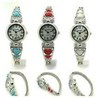 Ladies Heart Stones Stretch Elastic Band Fashion Watch Pearl Dial Versales image