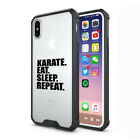 For Apple iPhone X XS Max XR Clear Shockproof Case Cover Karate Eat Sleep Repeat