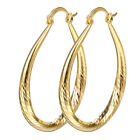 18K Yellow Gold Filled Women Wedding Engagement Drop Dangle Hollow Earrings Hoop image