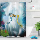 """Colorful Underwater Dolphin Turtle 71X79"""" Waterproof Fabric Shower Curtain Liner"""