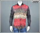 Mondo Men's Fashion Long Sleeve SHIRT Fitted DIGITAL PRINT Red and Multicolor
