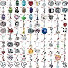 European Silver Crystal Heart Charms Beads CZ Pendant Fit 925 Sterling Bracelet image