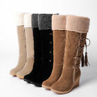 d36948e8545 Uk Womens Suede Mid Calf Boots Wedge Mid Heels Ladies Fur Lined Warm Shoes  Size