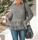 2018 Fashion Women's Casual Knitted Fringe Long Sleeve O-Neck Sweater Size S-XL