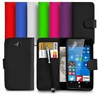 Premium Leather Wallet Case Cover For Microsoft Lumia 650 With Big Stylus