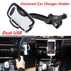 1x Dual USB Car Charger Holder Mount w/Cigarette Lighter for Smart Phone iPhone
