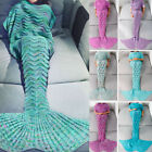 US Mermaid Tail Crocheted Sofa Snuggie Blanket Carpet Knit Soft Warm Adult Child image