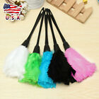 Multi-color Turkey Feather Duster with Black Plastic Handle Cleaning Tool#US