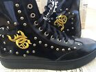 JOHN GALLIANO WOMENS BLACK LACED LEATHER SPORTS HI TOPS BOOTS TRAINERS WITH CAPS