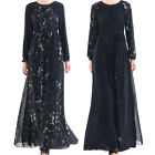 Women Muslim Chiffon Floral Print Maxi Dress Islamic Cocktail Abaya Jilbab Gown