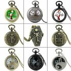 Vintage Nightmare Before Christmas Theme Quartz Pocket Watch Gift Necklace Chain image