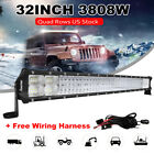 Quad Rows 32inch 3808W LED Work Light Bar Spot Flood Combo SUV JEEP Offroad Boat