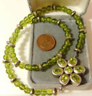 """Sterling Sivler Flower Pendant Clasp Green Peridot bead strand 17"""" Necklace 6g26"""