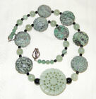 Vintage Chinese Carved Shou Longevity Turquoise and Green Serpentine Necklace