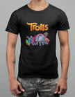 New Trolls Cartoon Movie Funny Black Men's T-Shirt Size S-5XL image