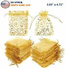 Golden Drawstring Organza Pouches Wedding Gift Jewellery Candy Pouch Bags 4'x5'