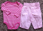 Girl's Size 6 M 3-6 Months 2 Piece Pink Striped Old Navy L/S Top & George Pants
