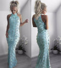 Sexy sleeveless sequins tassels bodycon club party evening formal long dress