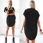 Womens Hooded Jumper Mini Dress Short Sleeve Sweatshirt Summer Tunic Dress Tops