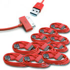 10X USB SYNC DATA POWER CHARGER CABLE APPLE IPAD IPHONE 4S 4 3GS IPOD TOUCH RED