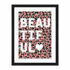 Leopard+Coral+And+Green+Beautiful+Words+Large+Framed+Art+Print+Wall+Poster