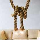 Vintage Rustic Hemp Rope Ceiling Chandelier Wiring Hanging Lights Bar Decor