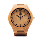 Wooden Watch for Men by Tree People: Bamboo Wood Case, Genuine Cowhide Leather