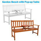 Garden Chiair Outdoor Patio Bench With Pop-up Table Park Furniture Acacia Wood