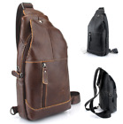 2018 Men's Genuine Leather Travel Hiking Cross Body Messenger Sling Chest Bag