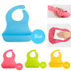 US Baby Soft Silicone Bib Adjustable Waterproof Saliva dripping Infant Lunch Bib