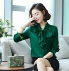 Women Fashion Office Bowknot Tie Slim Dress Shirt Business Career Blouses M-3XL