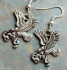 """Silver tone """" on the wings of an Eagle """" Bird and snake serpant earrings"""
