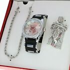 Men's Techno Pave Watch & Jesus Pendant Rope Chain Necklace Gift Set  image