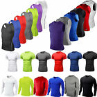 Mens Compression Under Shirt Base Layer Athleisure Tops Sports T-Shirts Gym Wear image