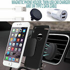 Magnetic Air Vent Car Phone Holder+Dual In Car Charger+USB Charging Cable GOLD