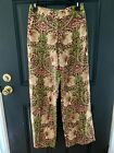 H&M WILLIAM MORRIS Burgundy/Green FLORAL WIDE LEG HIGH WAIST TROUSERS PANTS