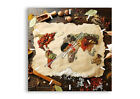 WALL CLOCK - CLOCK ON GLASS World Map Spices colors 2832 UK